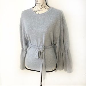Long Sleeve Stretch Gray Pullover Sweater Soft Top